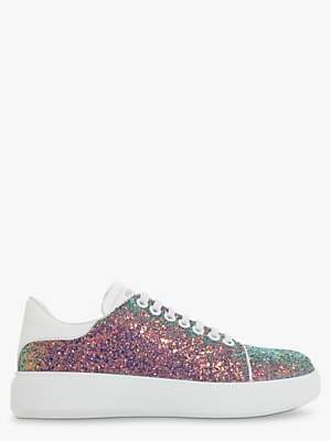 Dune Entity Leather Lace Up Trainers, Multi