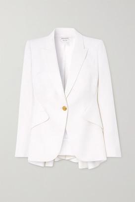 Alexander McQueen Wool-twill Peplum Blazer - White