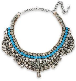 Valentino Gunmetal-tone, Crystal And Satin Necklace