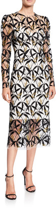 Monique Lhuillier Metallic Leaf Lace Illusion Dress