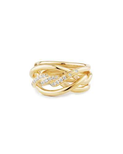 David Yurman 11.5mm Continuance 18K Ring with Diamonds, Size 7