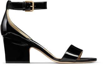 Jimmy Choo EDINA 65 Black Patent Leather Wedge Sandals