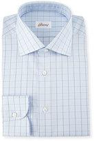 Brioni Glen-Plaid Check Dress Shirt, Light Blue