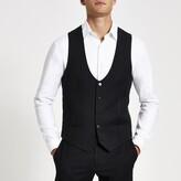 Mens River Island Navy pinstripe print suit waistcoat