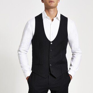 River Island Mens Navy pinstripe suit waistcoat