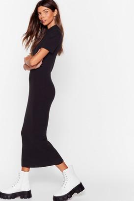 Nasty Gal Womens Knit's My Choice Puff Sleeve Midi Dress - Black