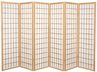 Oriental Furniture 5' Tall Window Pane Shoji Screen, Natural, 6 Panels