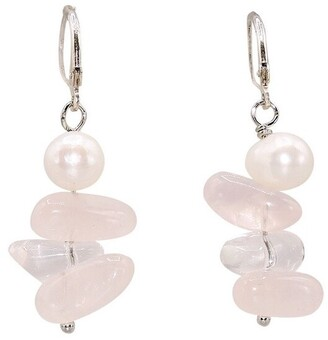 Empress Collection Corporation Chunky Rose Quartz and Pearl Earrings