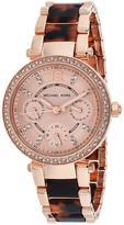 Michael Kors MK5841 Women's Parker Rose Gold & Tortoise Watch w/ Crystal Accents