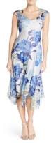 Komarov Floral Print Chiffon A-Line Dress