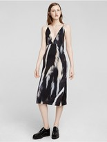 Calvin Klein Collection Silk Skunk Print Slip Dress