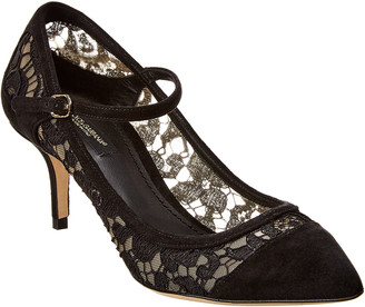 Dolce & Gabbana Mary Jane Suede & Lace Pump