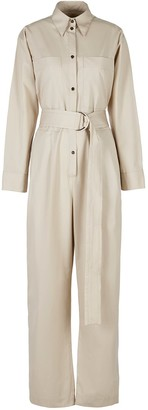 A Line Clothing Desert Nude Belted Cotton Jumpsuit