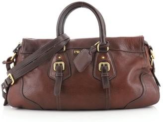 Prada Convertible Belted Satchel Cervo Antik Leather East West