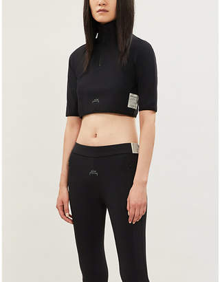 A-Cold-Wall* Funnel-neck logo-print stretch-jersey crop top