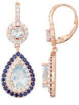 Fine Jewelry Lab-Created Aquamarine & White Sapphire 14K Rose Gold Over Silver Leverback Earrings