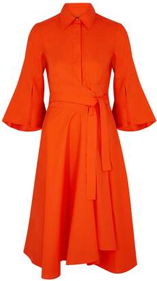 Paule Ka Orange Stretch-cotton Shirt Dress
