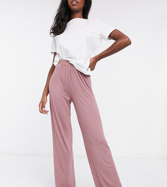 Asos Tall ASOS DESIGN Tall mix & match soft pyjama trouser with elastic waistband in brown
