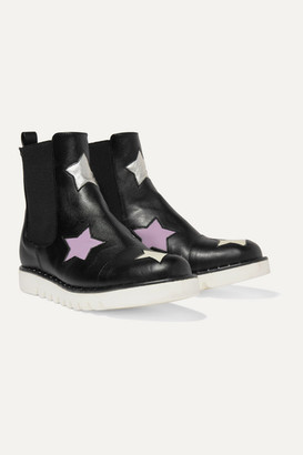 Stella McCartney Kids Studded Metallic-trimmed Faux Leather Chelsea Boots - Black