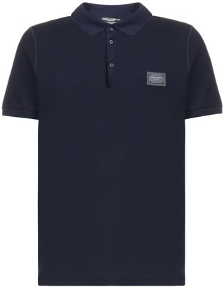 Dolce & Gabbana Logo-plaque Cotton Polo Shirt