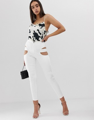 ASOS DESIGN rivington jegging with cut out thigh detail in optic white
