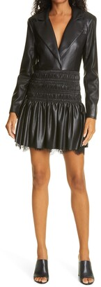 Self-Portrait Faux Leather Smocked Long Sleeve Minidress