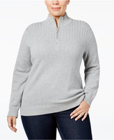 Karen Scott Plus Size Ribbed Mock-Neck Sweater, Only at Macy's