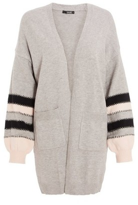 Dorothy Perkins Womens *Quiz Grey Stripe Knitted Long Cardigan, Grey