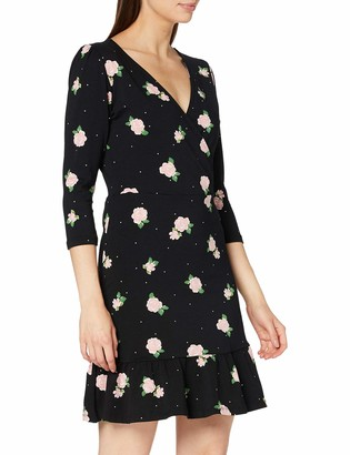 Dorothy Perkins Women's Black Floral Three Quarter Sleeve Wrap Dress Casual 10