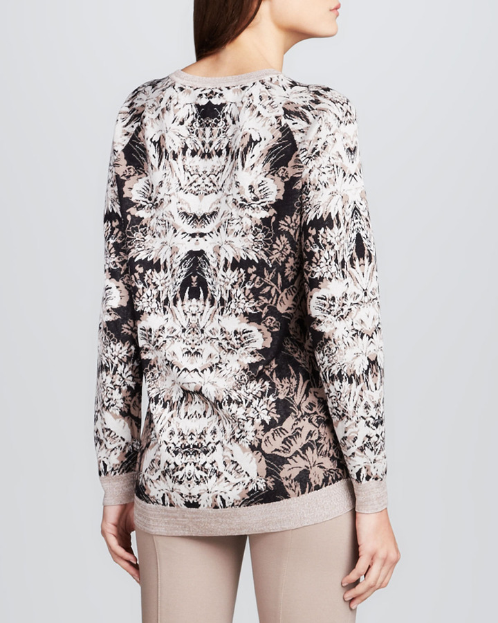 BCBGMAXAZRIA Parker Printed Fitted Sweater