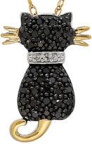 FINE JEWELRY 1/5 CT. T.W. White and Color-Enhanced Black Diamond Cat Pendant Necklace