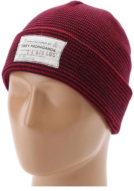 Obey Copenhagen Beanie (Red/Navy) - Hats