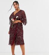 Maya Plus Bridesmaid delicate sequin wrap midi dress in wine