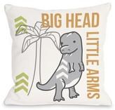 "Big Head Little Arms Dino Throw Pillow One Bella Casa Size: 16"" H x 16"" W x 3"" D"