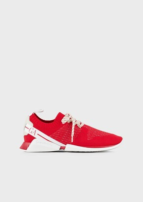 Giorgio Armani Lace Up Sneakers In Knit And Leather