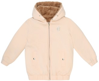 Chloé Kids Reversible faux fur-trimmed jacket