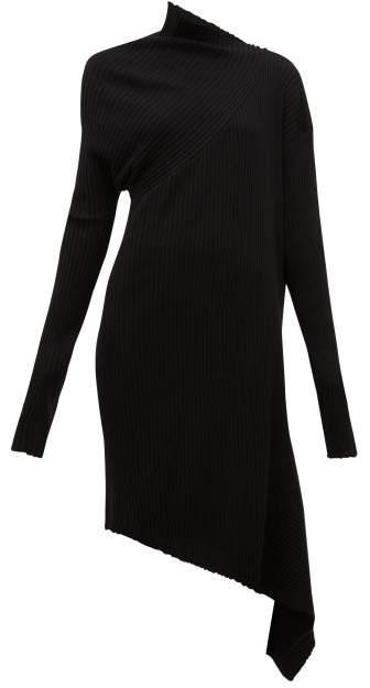 Marques Almeida Marques'almeida - Draped Asymmetric Knitted Merino Wool Dress - Womens - Black
