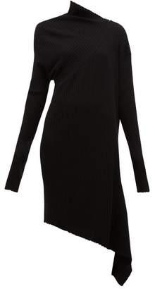 Marques Almeida Marques'almeida - Draped Asymmetric Knitted Merino-wool Dress - Womens - Black