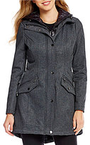 GUESS Side Lace-Up Hooded Soft Shell Coat