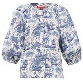 STAUD Dill Balloon-sleeve Tropical-print Cotton Blouse - Womens - Blue White