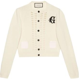 Gucci G patch crop cardigan