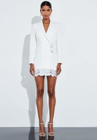 Missguided Ivory Lace Buckle Blazer Dress