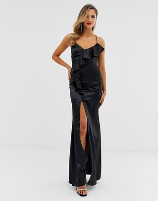 City Goddess ruffle satin slit front maxi dress