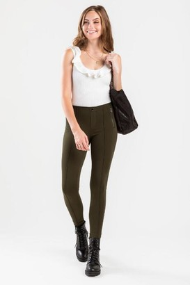 francesca's AJ Front Seam Zip Leggings - Dark Olive