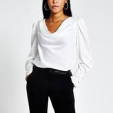 River Island White long sleeve cowl neck satin blouse