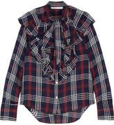 Veronica Beard Finley Ruffled Checked Cotton-blend Gauze Blouse - Navy