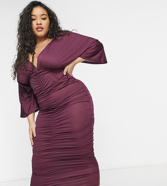 ASOS DESIGN Curve kimono sleeve ruched midi dress in plum