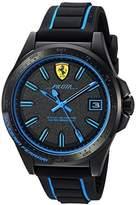 Ferrari Men's 'Pilota' Quartz Stainless Steel and Rubber Casual Watch, Color:Black (Model: 830423)