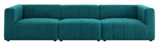 "Modway Bartlett 129"" Wide Square Arm Modular Sofa Fabric: Teal 100% Polyester"