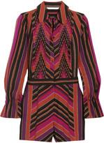 Diane von Furstenberg Ariella Pleated Printed Silk And Wool-blend Playsuit - Violet